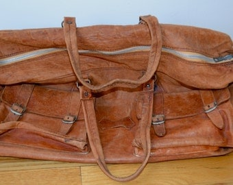 Vintage Distressed Leather Duffle