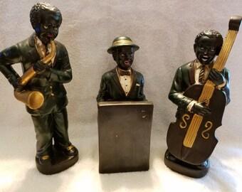 Set of Three Ceramic African American Jazz Musicians Figurines