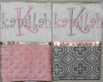 2 Pink and Grey Personalized Embroidered Burp Cloths Great Gift Idea!