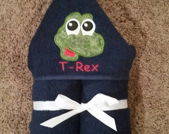 Personalized Dinosaur Hooded Towel