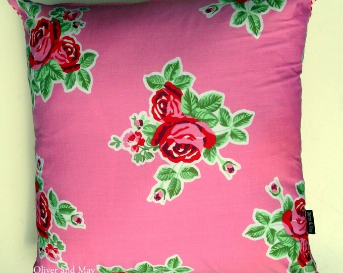 """Pink Floral Rose Cushion Cover 18"""" x 18"""" 45cm x 45cm Square Throw Pillow Home Decor Interior Design Shabby Chic - Every Day is Mothers Day"""