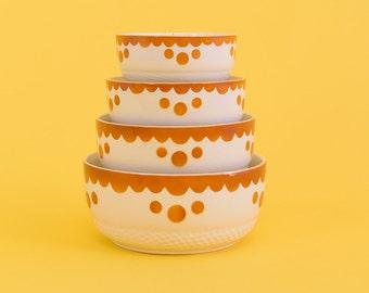 Vintage Set of Ceramic Art Deco Style Nesting Bowls