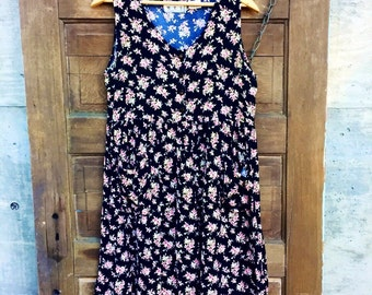 Vintage 90's Best Ever Black Floral Rayon Babydoll Tank Dress by M.E.I. Size Medium