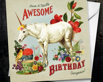 Have an Awesome Birthday Unicorn  Card
