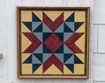 Handmade Barn Quilt Wood Mosaic Wall Hanging Country Rustic primitive folk art