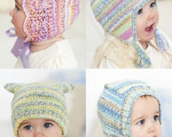 Knitting Pattern Baby hats and bonnets  sirdar 1257   size 0-7yrs  new