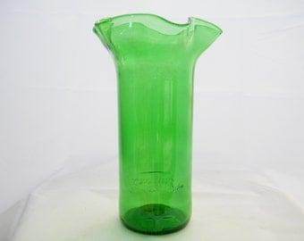 Green glass liquor etsy for Liquor bottle vases