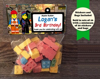 Building Blocks Birthday Party, Building Blocks Treat Bags, Building Blocks Favors, Emmet Birthday Favors, Wyldstyle Party Favors