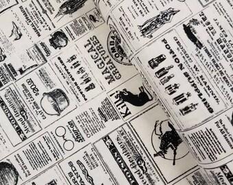Lost & Found Halloween - Newsprint(Cream Background) - Jen Allyson - Riley Blake Designs