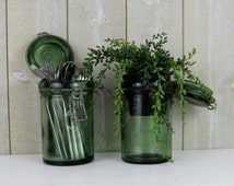 Vintage green glass container. Canning jar. French canning jar. DURFOR. France. Green glass container. French jar. Select ONE // D224