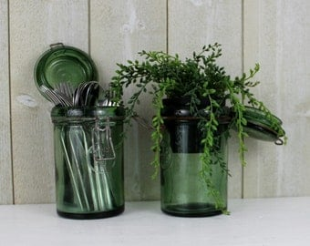 Green Canning Jar, Green Glass Containers, Green Canisters, Antique Canning Jar, Green Glass Jar with Lid, Vintage Glass Canisters D224