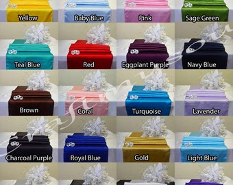 """12""""x108"""" (SET OF 5) Satin Table Runner For Wedding Party Banquet 20+ colors"""