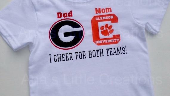 Custom House Divided Bodysuit (Georgia Bulldogs- Clemson Tigers) I Cheer For Both Teams