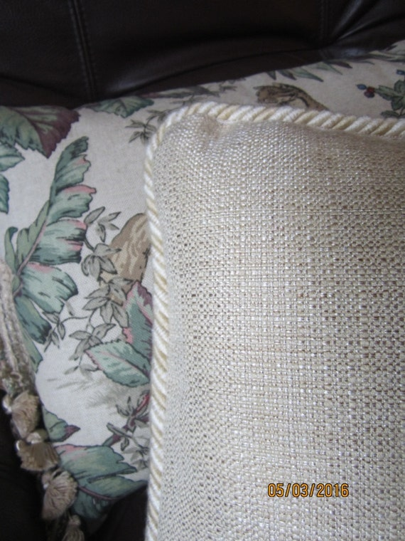 Solid color throw pillows in golden tan woven chenille decorator fabric 2 sizes
