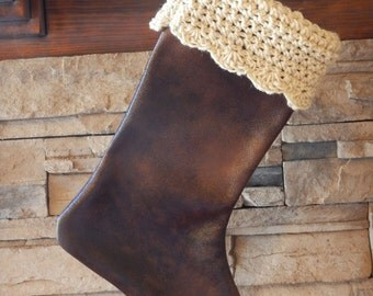 """FINAL MARKDOWN - clearance 16"""" Handmade faux leather Christmas stocking with Handspun wool cuff"""