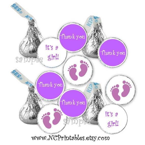 baby shower favors gift girl purple  candy stickers (108)