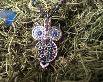 Owl and braided cord necklace