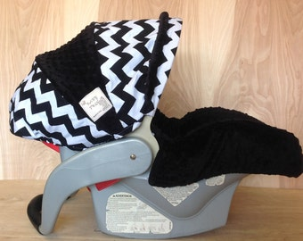 Infant Car Seat Cover- Cotton Black and White Chevron