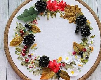 PERSONALISE. silk ribbon embroidery. nature art, embroidery art, hoop art, silk ribbon embroidery, 3d art,