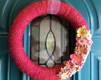 Pink Yarn Wreath With Pink and Yellow flowers, Summer Door Decor, 12 inches