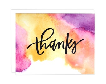Watercolor Thank You Card, Watercolor Thanks, Boxed Set of Thank You Cards, Boxed Set, Watercolor Card, Thanks Card, Thank You Card, Thanks