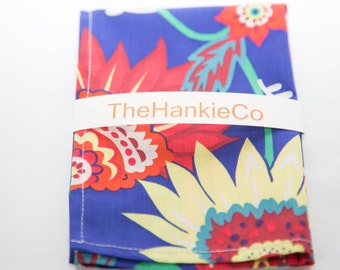 Liberty fabric cotton hankie in glorious colour