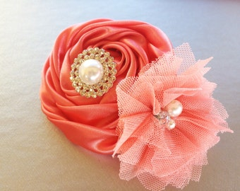 Women's Hair Barrette - Women's Barrette - Coral French Barrette - Bridesmaid Barrette - Elegant Barrette - Coral Flower Barrette for Her