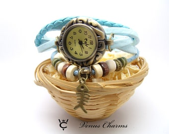 """wrist watch with leather bracelet  """"Summer"""""""