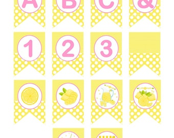 Lemonade Banner, DIY Lemonade Birthday Banner, Printable Lemonade Party Banner, Yellow Pink Party, Lemonade Theme, A-Z - Printables 4 Less