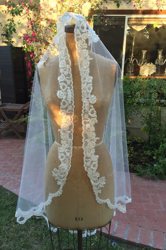 Gold Lace, Mantilla, Lace Wedding Veil, Beaded Veil, Lace Bridal Veil, Gold Veil, Wedding Veil, Spanish Veil, Juliet Veil- Veil