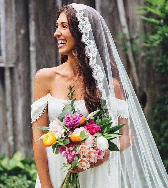 Long Veil, Mantilla Bridal Veil, Drop Veil, Cathedral Length Veil, Alencon Lace Wedding Veil, Custom Veil, Bespoke Veil- MARIPOSA Mantilla