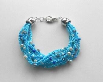 Turquoise crocheted Bracelet