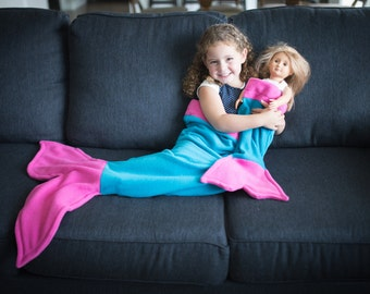 """Super Soft Fleece Mermaid Tail Blanket Set for 18"""" Doll and Child! Set of Two Mermaid Tails in Turquoise with Pink Fins!"""