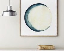 Moon Phases Watercolor Painting Blue Wall Decor, Abstract Full Moon Art Print, New Crescent Luna Solar System Astrology Picture Home Decor
