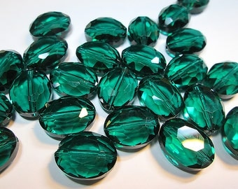 10 BEAUTIFUL Teal Faceted Oval Glass Beads