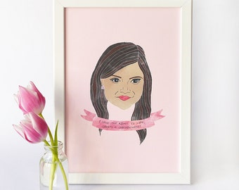 Mindy Kaling Print · Illustrated Watercolour Style Print · The Mindy Project Quote Print · TV Character Mindy Lahiri Portrait Print