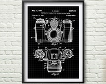 Zeiss Ikon Contarex Camera Patent Poster, Camera Print, gray, black, black graphic, yellow, blue Drawing Patent Get 5 Colors Background *15*