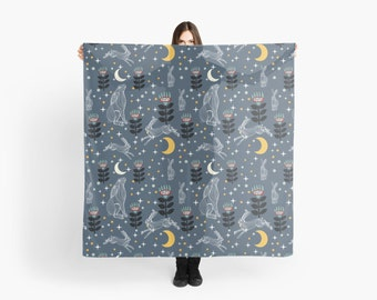 """Hare Moon - Large Scarf 55"""" square"""