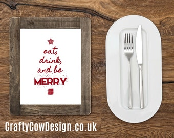 Christmas Printable art, Eat, drink and be merry, Christmas download kitchen wall art for kitchen, Christmas decor holiday printable art