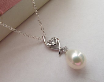 Heart Sterling Silver Necklace,Pearl Necklace,925 Pearl Necklace,Crystal Necklace,Gift,Sterling Silver Necklace