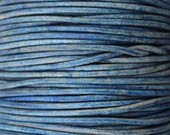 Natural Blue / 1.5mm Leather Cord / leather by the yard / round leather cord / genuine leather / necklace cord / bracelet cord