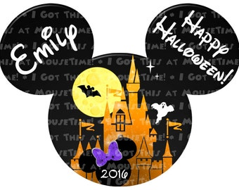 IRON-ON Halloween Castle & Minnie Ears - Color Options! - Mouse Ears Tshirt Transfer / Decal