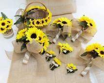 Wedding Bouquet Set 10 Pieces Set Yellow Silk Sunflowers Burlap Lace Bouquet Brown Flowers Bouquet Wedding Flowers Country Rustic Artificial