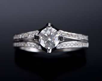 Engagement Ring 085 Ct 14 K Gold Diamond Women Jewelry Wedding Band