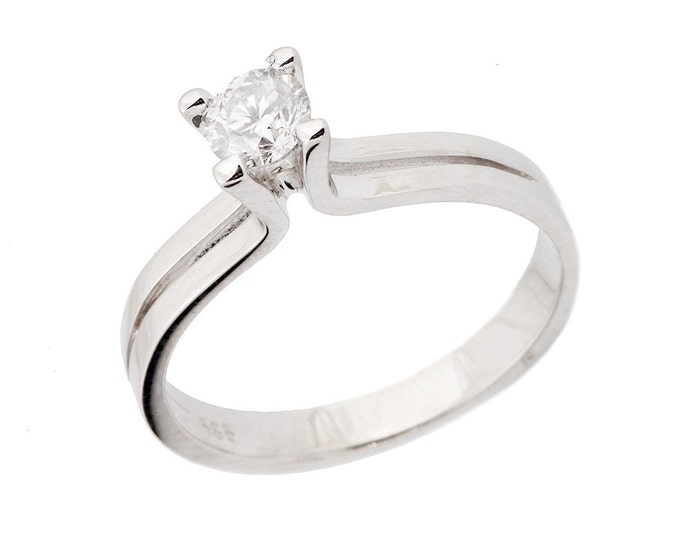 Diamond Engagement Ring 0.19 carat-Solitaire White Gold Ring-Women Jewelry-solitaire diamond engagement ring- solitaire rings-promise ring