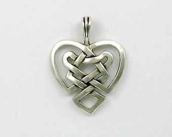 Sterling Silver Celtic Heart Knot Pendant - 42