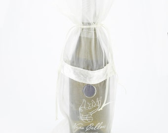 Sheer Wine Bags with Velvet Stripe Drawstring (Pack of 12) wine party wedding bag (XKPV34-x)