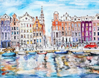 Amsterdam. Netherlands.Traditional Dutch Buildings.  Original watercolor painting.
