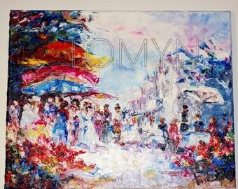 PARIS Painting. Walk   in the  park. Paris  Wall Art.   Original OIL paining.