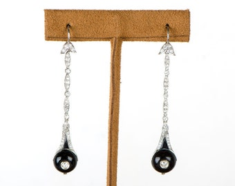 Rare Antique Art Deco Diamond and Onyx Earrings. Circa 1925.
